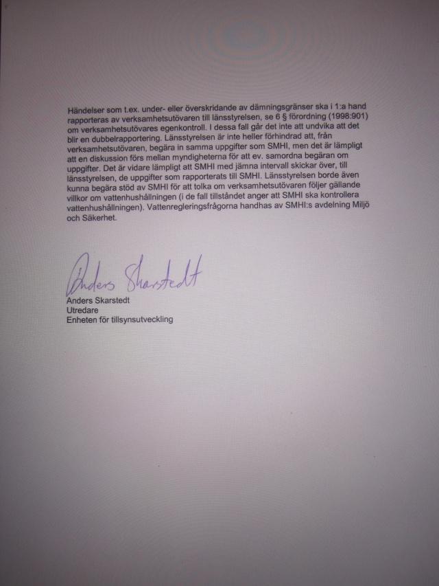 """""""Länstyrelsens tillsyn och SMHI:s kontroll över vattenregleringar"""", dnr 1389-2012, Havs och Vattenmyndigheten. Sid 2"""