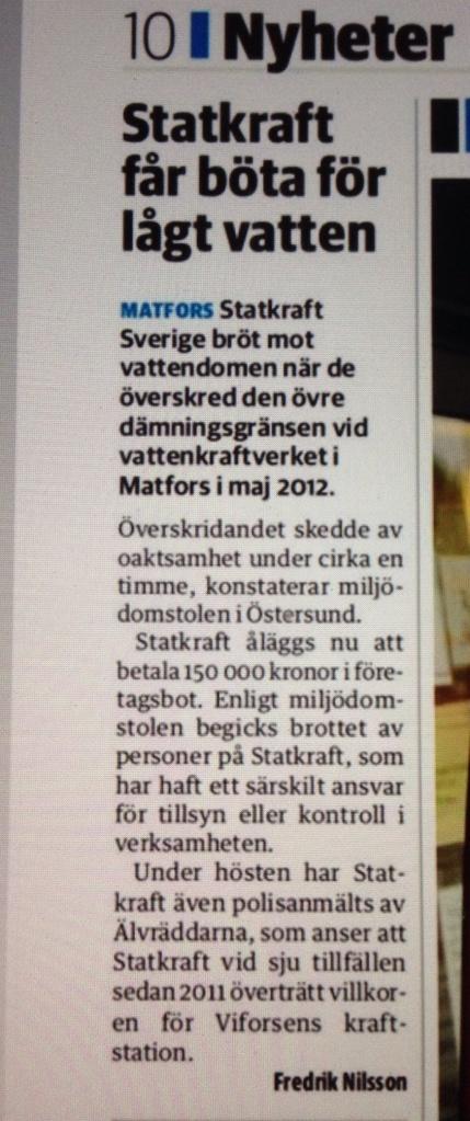 Sundsvalls Tidnings artikel fredagen den 11/10 om Statkrafts miljöbrott