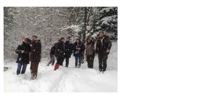 Dag 1. Projektgruppen vid Grenforsens naturreservat