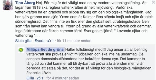 Skärmdump från Miljöpartiets fb-sida den 25/5-14