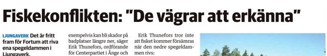 Sundsvalls Tidnings pappersupplaga har skrivit om Fortums agerande den 8/10 2014
